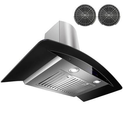 GWR73N36 36 inch  Wall Mount Range Hood with 760 CFM  65 dB  Innovative Touch  2W LED Lighting  4 Fan Speed  Stainless Steel Baffle Filter and Ductless: