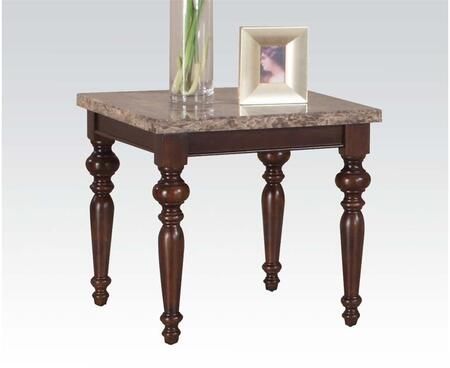 Bandele Collection 80227 End Table with Marble Top and Turned Legs in Emparedora