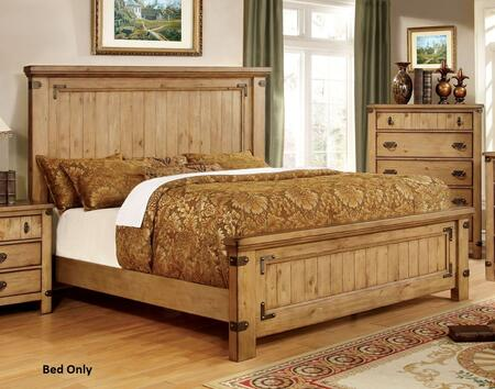 Pioneer Collection CM7449CK-BED California King Size Platform Bed with High Headboard  Solid Wood and Wood Veneer Construction in Weathered Elm