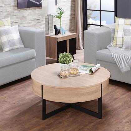 Nuria Collection 80625SET 2 PC Living Room Table Set with Round Shaped Coffee Table and Square Shaped End Table in Walnut Rustic Natural and Black