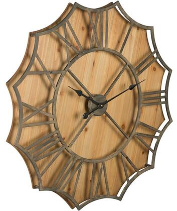 40860 Diallo Clock in Rustic Metal and Natural Wood