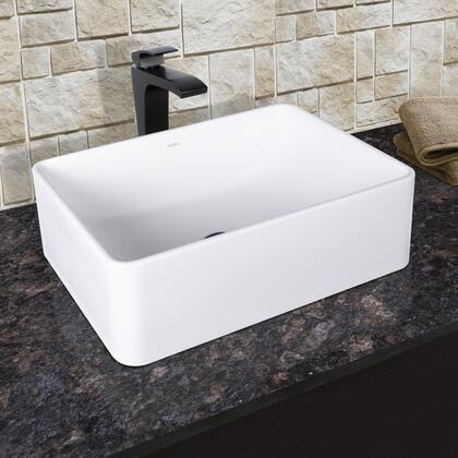 VGT1025 VIGO Caladesi Composite Vessel Sink and Blackstonian Bathroom Vessel Faucet in Matte
