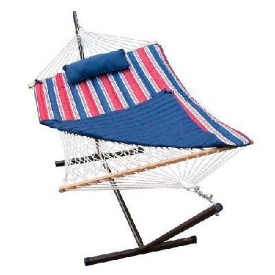 8916 144 inch  Cotton Rope Hammock  Stand  Pad and Pillow Combination in Multi