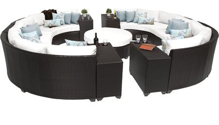 Barbados BARBADOS-11b-WHITE 11-Piece Wicker Patio Set 11b with 2 Armless Chairs  4 Curved Armless Sofas  4 Cup Tables and 1 Coffee Table - Wheat and Sail White