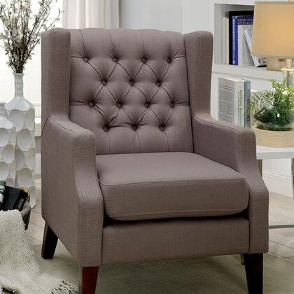 Robin CM-BN6186-CH-PK Chair with Contemporary Style  Wingback Design  Button Tufted  Padded Fabric in