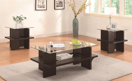 700785 Occasional 3PC Table Set 2 End Tables and 1 Coffee Table  Tempered Glass Tops  Clean Lines and Storage Shelves in Walnut