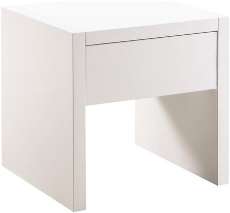 Occasional Groups Collection 721247 22 inch  End Table with 1 Drawer  Side Roller Glides  Rectangular Shape and High Gloss Material in Glossy White