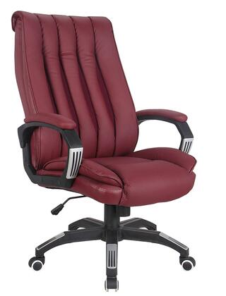 Hamel 92173 27 inch  Office Chair with Pneumatic Lift  Tilt Mechanism  Casters  Padded Arms and PU Leather Upholstery in Red