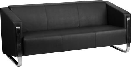 ZB-8803-3-SOFA-BK-GG Hercules Gallant Series Contemporary Black Leather Sofa with Stainless Steel