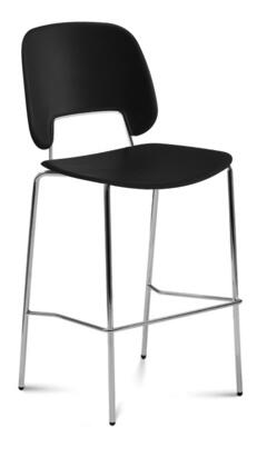 TRAFF.R.A0F.CR.PNE Traffic Stacking Chair with Chrome Frame  Foot Rest  Polypropylene Seat and Back in