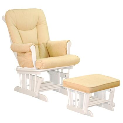 GL7126W Sleigh Glider with Ottoman  Easy to Clean Cushions  Smooth Gliding  and Sturdy Wood Construction  in