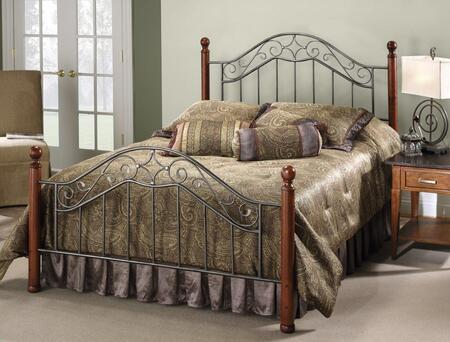 Martino Collection 1392BQR Queen Size Bed with Headboard  Footboard  Rails  Decorative Finials  Wood Posts  Metal Scrollwork and Open Frame Panels in Smoke
