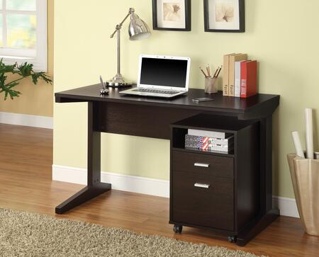 800916 2-Piece Desk Set with Writing Desk and Mobile File Cabinet in Cappuccino