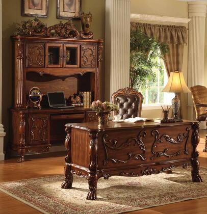 Dresden 12169SET Home Office Set with Office Desk + Office Chair + Computer Desk in Cherry Oak