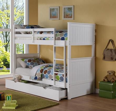 Sasha Collection Twin Over Twin Size Bunk Bed with Trundle Included  Ladder Included  Solid Hardwood Construction and Wood Veneer Materials in White
