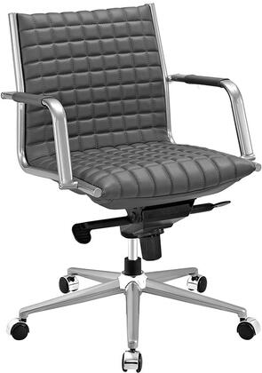 Pattern Collection EEI-2123-GRY Office Chair with 360-Degree Swivel  Adjustable Height  Tilt Control  Five Dual-Wheel Nylon Casters  Polished Steel Armrests
