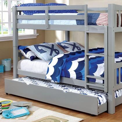 Cameron Collection CM-BK929F-GY-BED+TR Full Size Bunk Bed with Trundle  10 PC Slats Top/Bottom  Front Access Fixed Ladder  Solid Wood and Wood Veneer