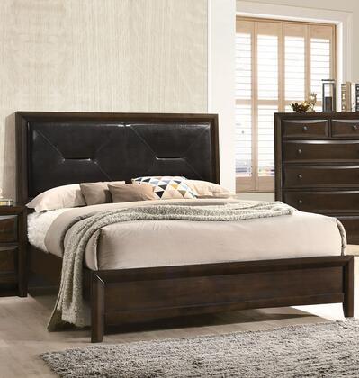 Brenta Collection 26637EK King Size Bed with Black PU Leather Upholstered Headboard  Low Profile Footboard  Tapered Legs  Molding Trim  Tropical Wood and Okume
