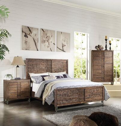 Andria Collection 21284CK3SET 3 PC Bedroom Set with California King Size Bed  Chest and Nightstand in Reclaimed Oak