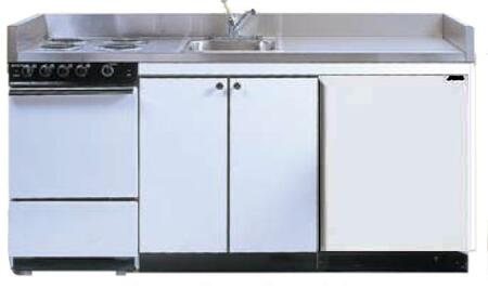 ROE9Y72 72 inch  Compact Kitchen with 4 Electric Coil Burners  Removable Refrigerator  Electric Oven  Backguard  Stainless Steel Countertop  and Sink: