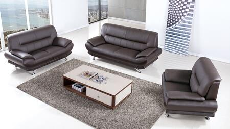 EK-B118 Collection EK-B118-DC 3-Piece Living Room Set with Sofa  Loveseat and Chair in Dark Chocolate