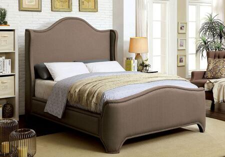 Rebecca Collection CM7516EK-BED Eastern King Size Bed with Wingback Design  Nailhead Trim  Padded Fabric Upholstery and Solid Wood Construction in Brown