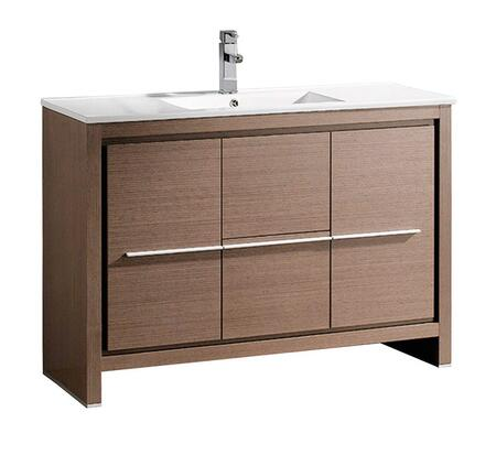 Allier FCB8148GO-I 48 inch  Single Sink Vanity with 2 Soft Closing Doors  2 Soft Closing Drawers and Integrated Sink in Grey