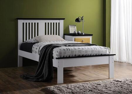 Brooklet Collection 25455T Twin Size Bed with Slatted Panel Headboard  Low Profile Footboard  Contrast Top Trim and Poplar Wood Construction in Black and White