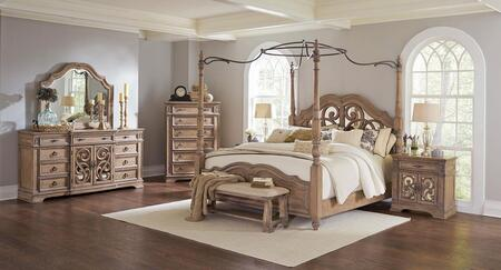 Ilana Collection 205071KWSET 6 PC Bedroom Set with California King Size Canopy Bed + Dresser + Mirror + Chest + Nightstand +Bench in Antique Linen