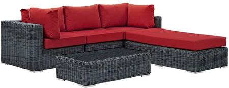 Summon Collection EEI-1904-GRY-RED-SET 5 Piece Outdoor Patio Sunbrella Sectional Set with Armless Chair  Coffee Table  Ottoman and 2 Corner Sections in Canvas