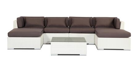 NAPALI7-WHT-GRAPHITE Modern Outdoor Furniture Sofa Patio Modify-It Aloha Napali 7-Pc Set  White Wicker/Graphite Cushions By Kardiel