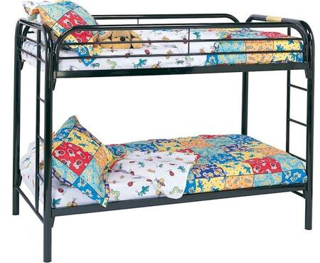 Fordham Collection 2256K Twin Over Twin Bunk Bed with Built-In Ladders  Full Length Guard Rails and Two Inch Metal Tubing Construction in Black