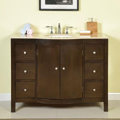 JB0272CMUWC48 48 inch  Single Sink Cabinet with 7 Drawers  2 Doors  Cream Marfil Marble Top and Undermount White Ceramic Sink