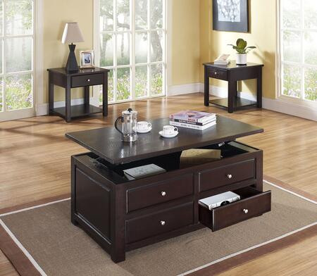 Malden 80257CE 3 PC Living Room Table Set with Coffee Table + 2 End Tables in Espresso