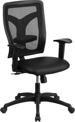 WL-F062SYG-LEA-A-GG Galaxy High Back Designer Back Task Chair with Adjustable Height Arms and Padded Leather