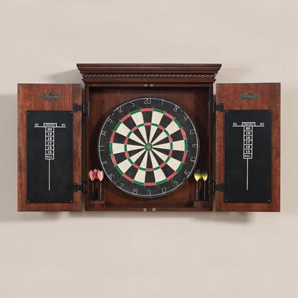 300805 Cavalier Dart Board Set with Bristle Board  Wood Cabinet  Dual Score Chalk Boards and 6 Steel-Tipped Darts: