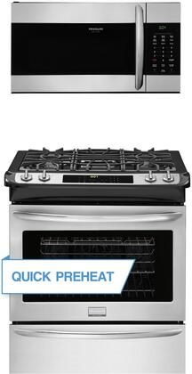"""Frigidaire 2 Piece Kitchen Appliances Package with FGGS3065PF 30"""" Slide in Gas Range and FGMV176NTF 30"""" Over the Range Microwave in Stainless"""