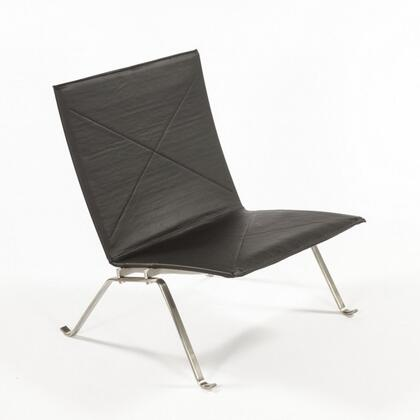 Garvey FEC2604LBLK Lounge Chair with Stainless Steel Frame Construction and Leather Upholstery in
