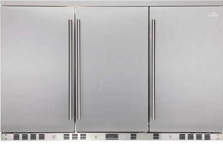 KBU-328A-SD 53 inch  3 Solid Door Undercounter Beverage Cooler with x Can Capacity  Chrome Shelves  Lock and Stainless Steel Interior and