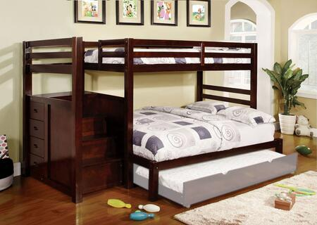 Pine Ridge Collection CM-BK966F-BED Twin Over Full Size Bunk Bed with Built-In Drawers  14 PC Slats Top/Bottom  Front Access Step  Solid Wood and Wood Veneers