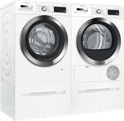 White Front Load Compact Laundry Pair with WAW285H2UC 24 inch  Washer  WTG865H2UC 24 inch  Condensation Electric Dryer and 2 WMZ20490 Laundery