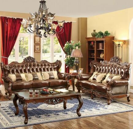 Jericho Collection CM6786-SL-PK 2-Piece Living Room Set with Stationary Sofa and Loveseat in Brown and Dark