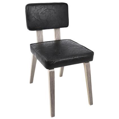 DC-NNZ LGY+BK2 Nunzio Mid-Century Modern Dining Chair in Light Grey Wood and Black PU - Set of