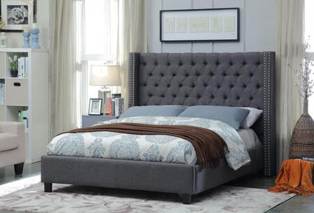Ashton ASHTONGREY-Q Queen Size Upholstered Bed with Deep Detailed Tufting  Chrome Nailheads and Wing Design in