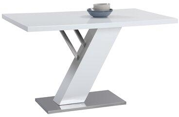 LINDEN-DT LINDEN DINING Modern Design Gloss White Dining Table Top with Stainless Steel Base