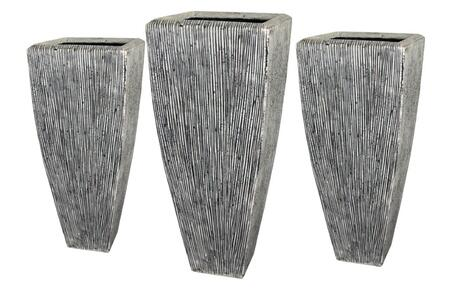 "SGS3105-3107 Sandstone Ribbed Long Square Planter 3/Set  Heights: 24""""  32"""""" 441921"