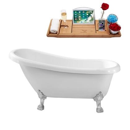 N480CH 61 inch  Soaking Clawfoot Tub with Internal Drain  Chrome Color Drain Assembly  131 Gallons Water Capacity  and Acrylic/Fiberglass Construction  in Glossy