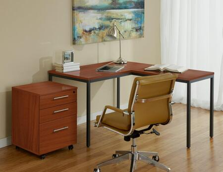 1C100018PCH Cherry Parsons L Shaped Desk with Mobile