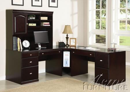 Cape 92031PACKAGE Home Office with Office Desk + Hutch + Corner Desk + Computer Desk in Espresso