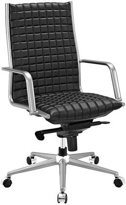 Pattern Collection EEI-2122-BLK Office Chair with 360-Degree Swivel  Adjustable Height  Tilt Control  Five Dual-Wheel Nylon Casters  Polished Steel Armrests